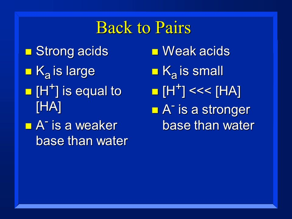Back to Pairs Strong acids Ka is large [H+] is equal to [HA]