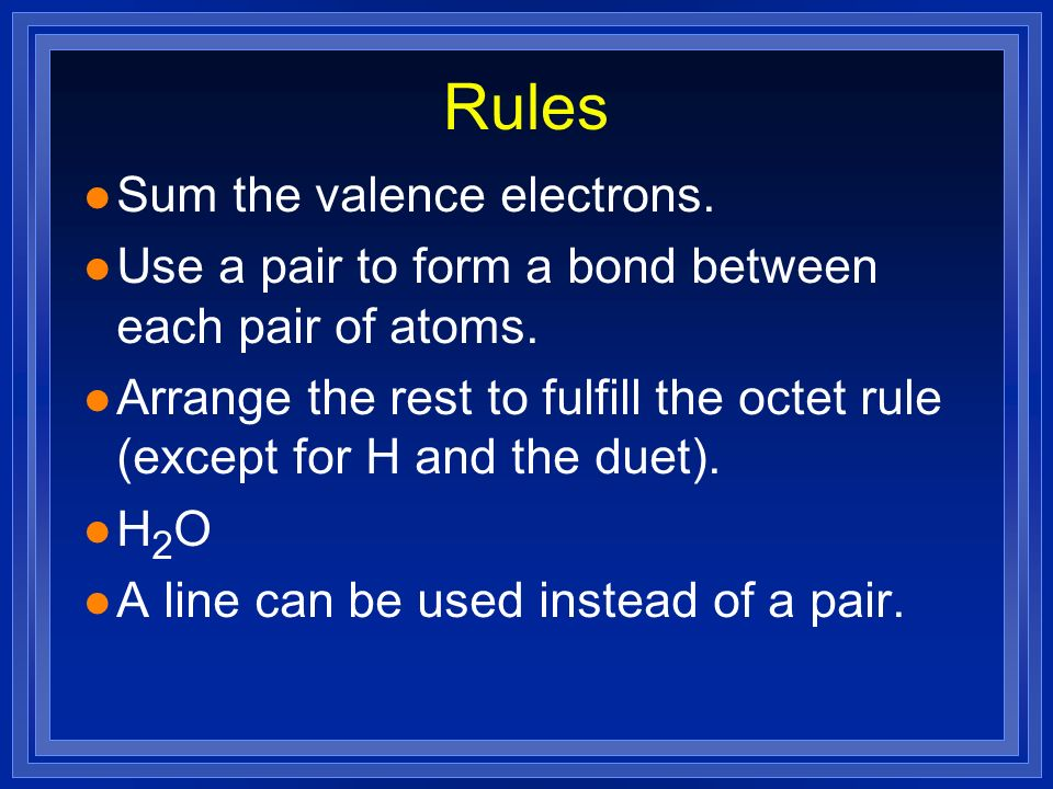 Rules Sum the valence electrons.