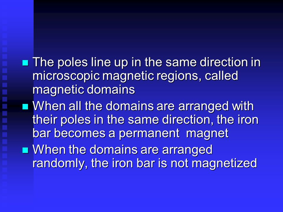 The poles line up in the same direction in microscopic magnetic regions, called magnetic domains