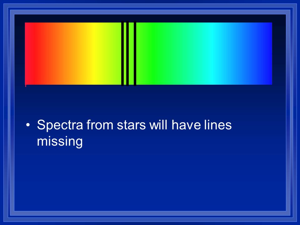Spectra from stars will have lines missing