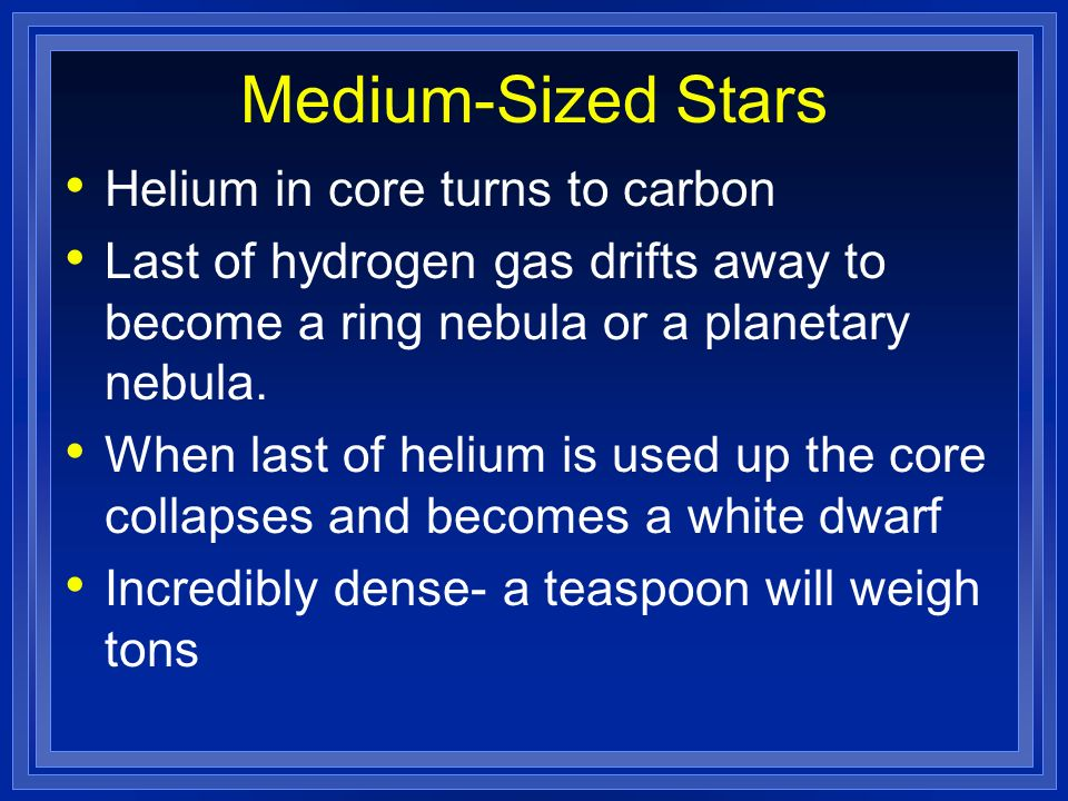 Medium-Sized Stars Helium in core turns to carbon