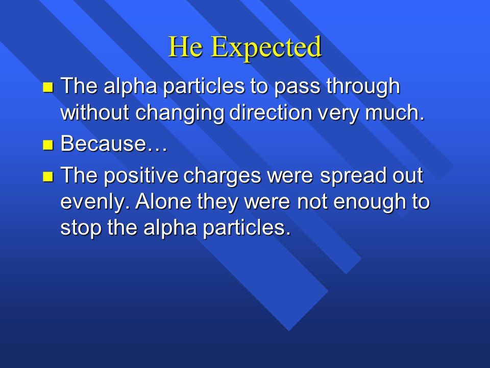 He Expected The alpha particles to pass through without changing direction very much. Because…