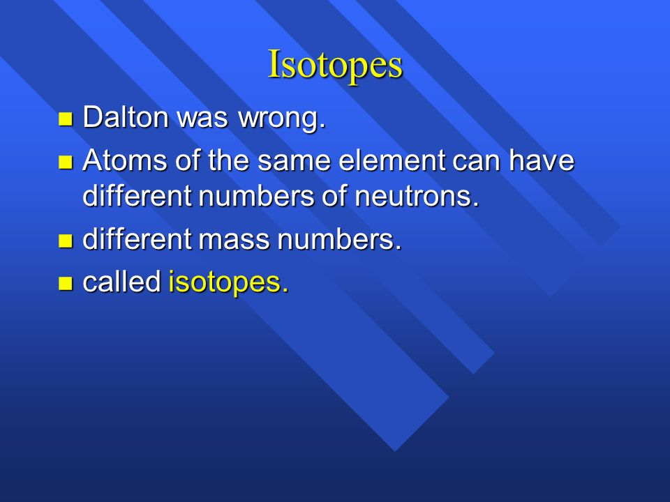 Isotopes Dalton was wrong.