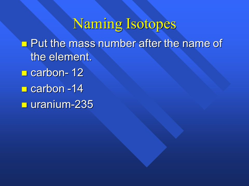 Naming Isotopes Put the mass number after the name of the element.