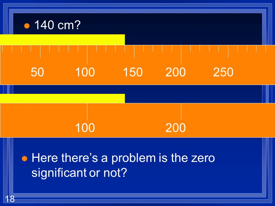 140 cm 100 200 150 250 50 100 200 Here there's a problem is the zero significant or not