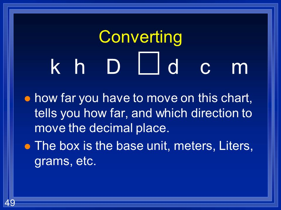 Converting k. h. D. d. c. m. how far you have to move on this chart, tells you how far, and which direction to move the decimal place.
