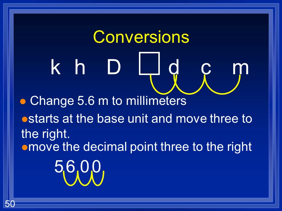 k h D d c m Conversions 5 6 Change 5.6 m to millimeters