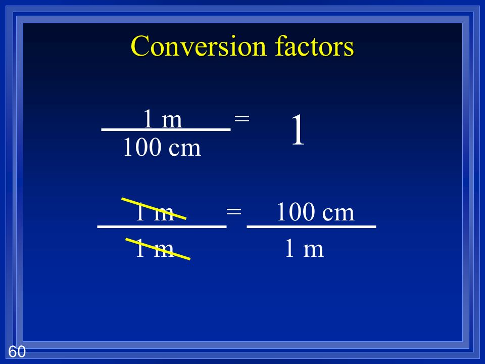 Conversion factors 1 m = cm 100 cm = 1 m 1 m