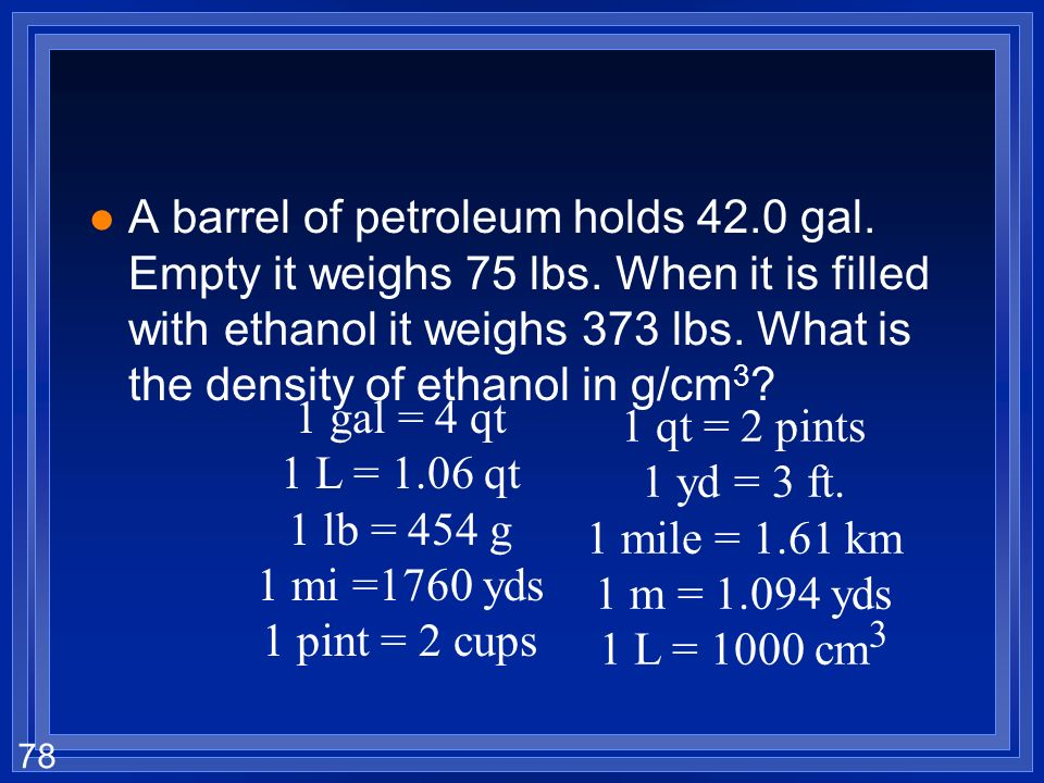 A barrel of petroleum holds 42. 0 gal. Empty it weighs 75 lbs