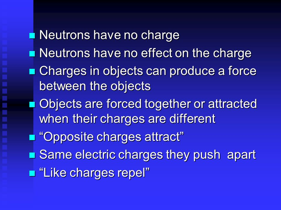 Neutrons have no charge