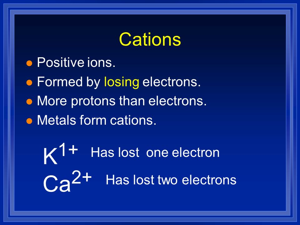K1+ Ca2+ Cations Positive ions. Formed by losing electrons.