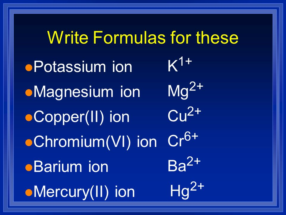 Write Formulas for these