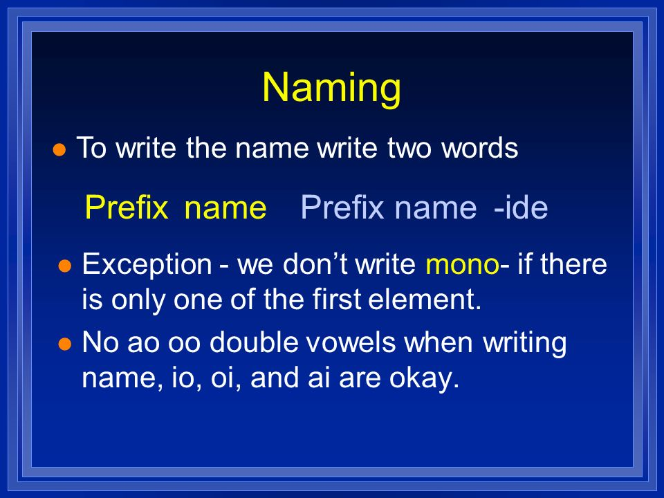 Naming Prefix name Prefix name -ide To write the name write two words