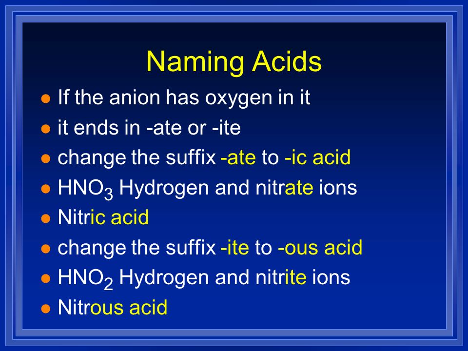 Naming Acids If the anion has oxygen in it it ends in -ate or -ite