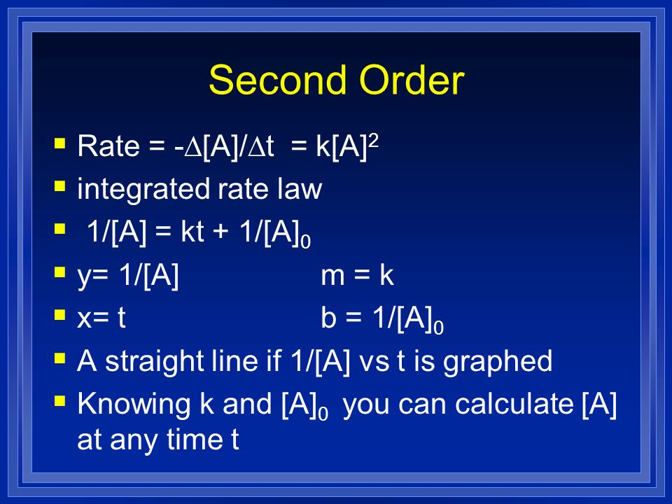 Second Order Rate = -D[A]/Dt = k[A]2 integrated rate law