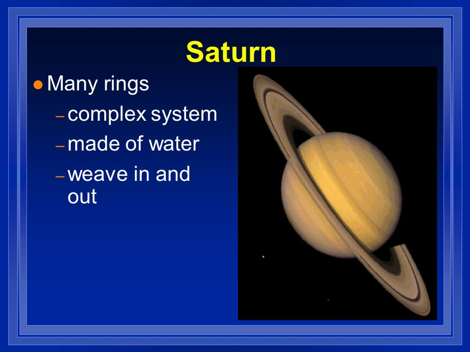 Saturn Many rings complex system made of water weave in and out