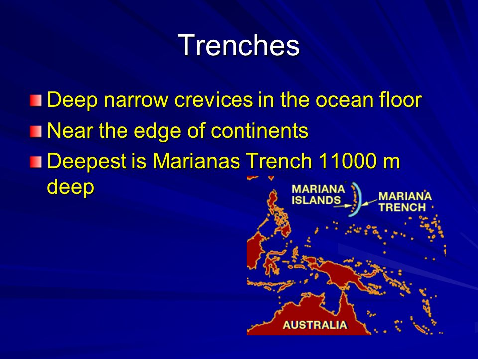 Trenches Deep narrow crevices in the ocean floor