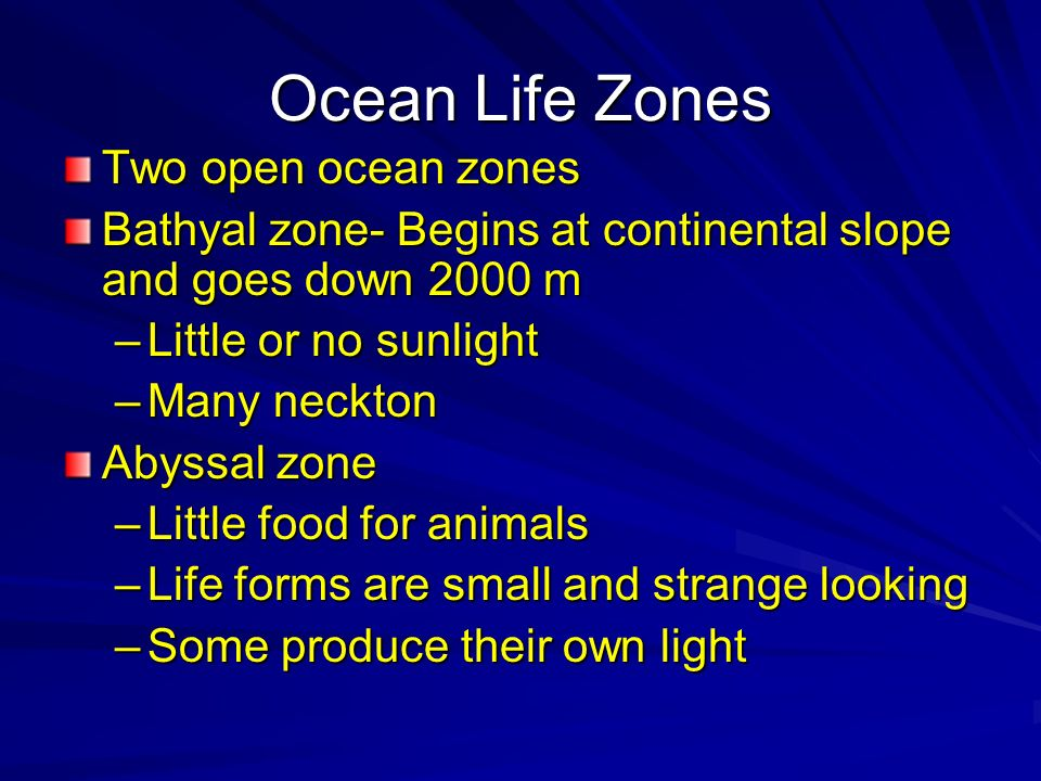 Ocean Life Zones Two open ocean zones