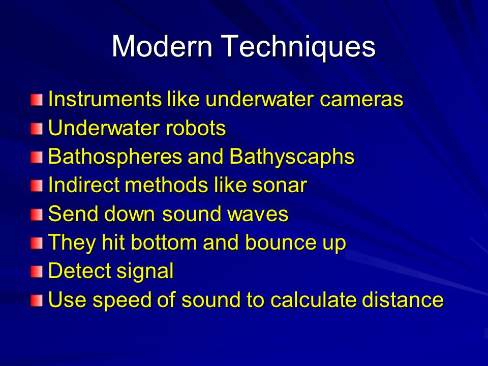 Modern Techniques Instruments like underwater cameras
