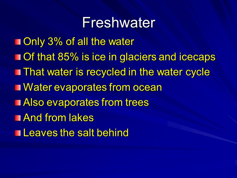 Freshwater Only 3% of all the water