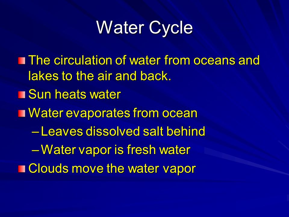 Water Cycle The circulation of water from oceans and lakes to the air and back. Sun heats water. Water evaporates from ocean.
