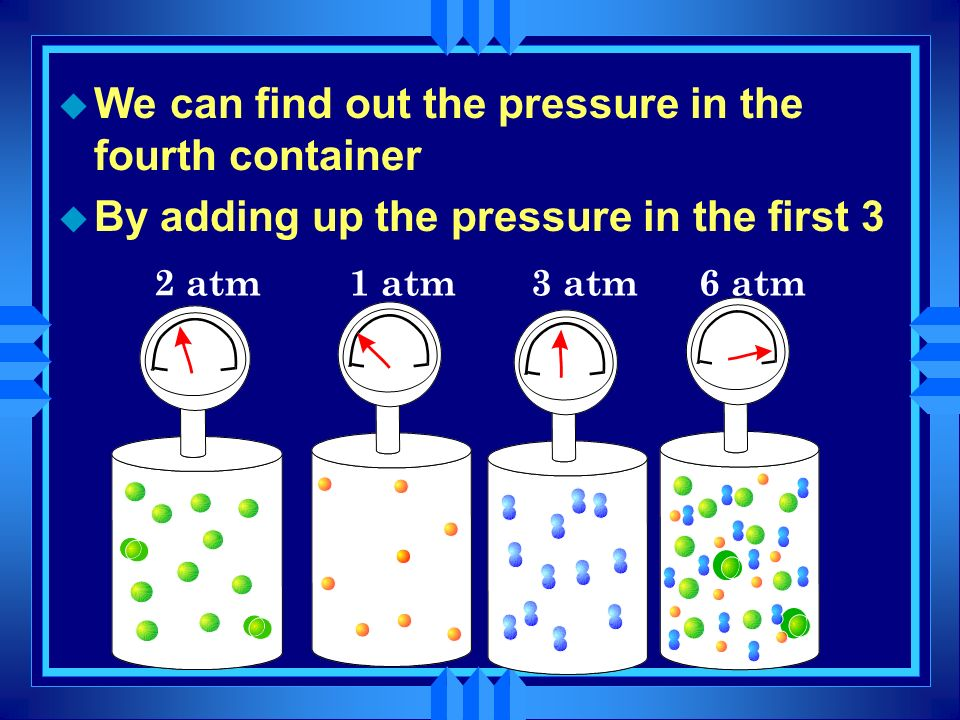 We can find out the pressure in the fourth container