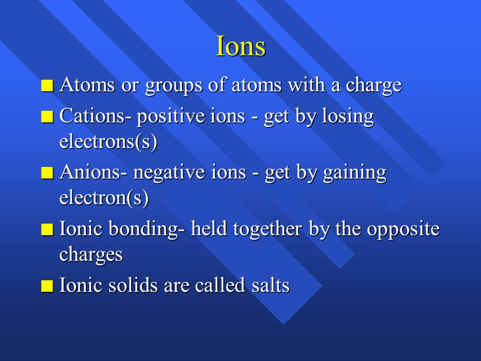 Ions Atoms or groups of atoms with a charge
