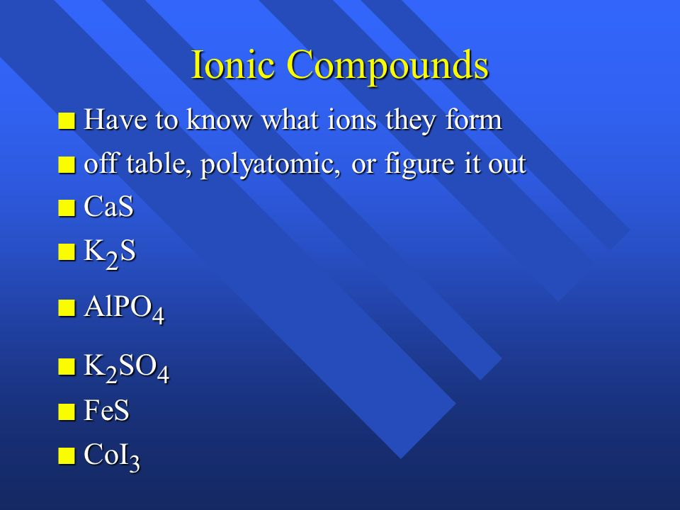 Ionic Compounds Have to know what ions they form