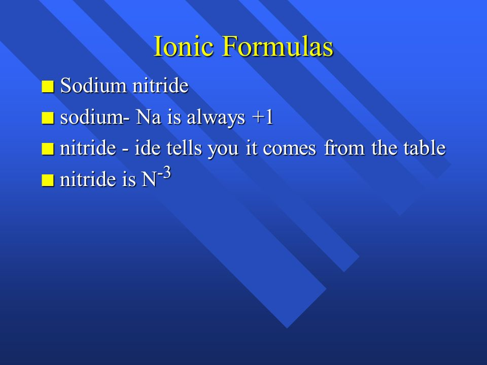 Ionic Formulas Sodium nitride sodium- Na is always +1