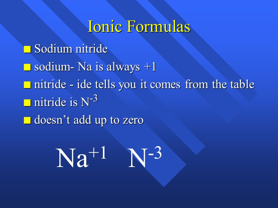 Na+1 N-3 Ionic Formulas Sodium nitride sodium- Na is always +1