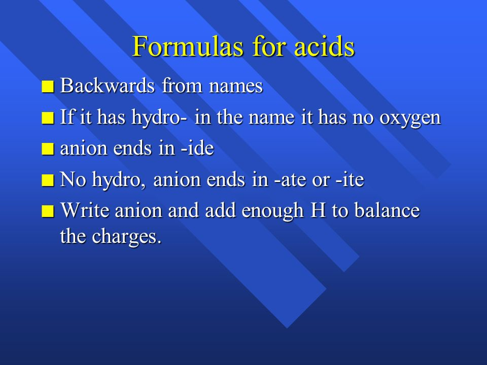 Formulas for acids Backwards from names