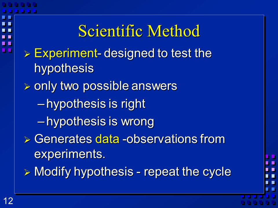 Scientific Method Experiment- designed to test the hypothesis