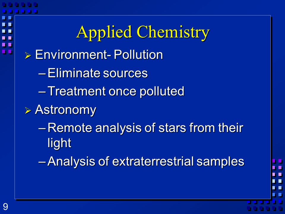 Applied Chemistry Environment- Pollution Eliminate sources