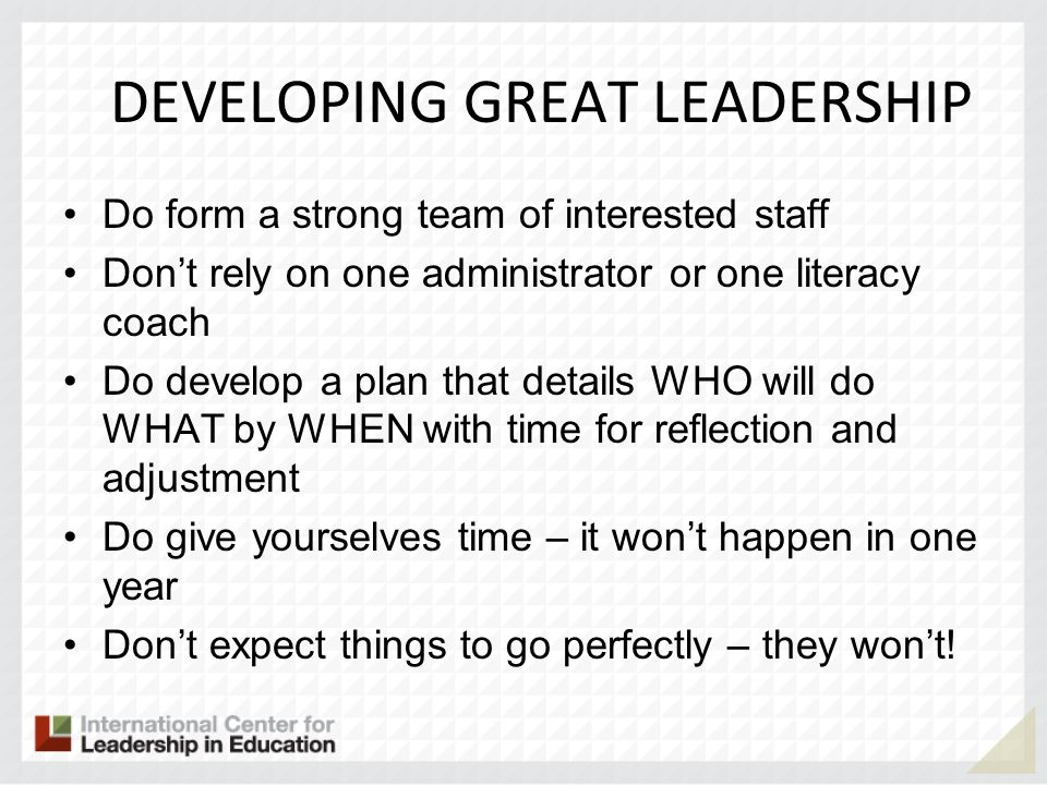 DEVELOPING GREAT LEADERSHIP