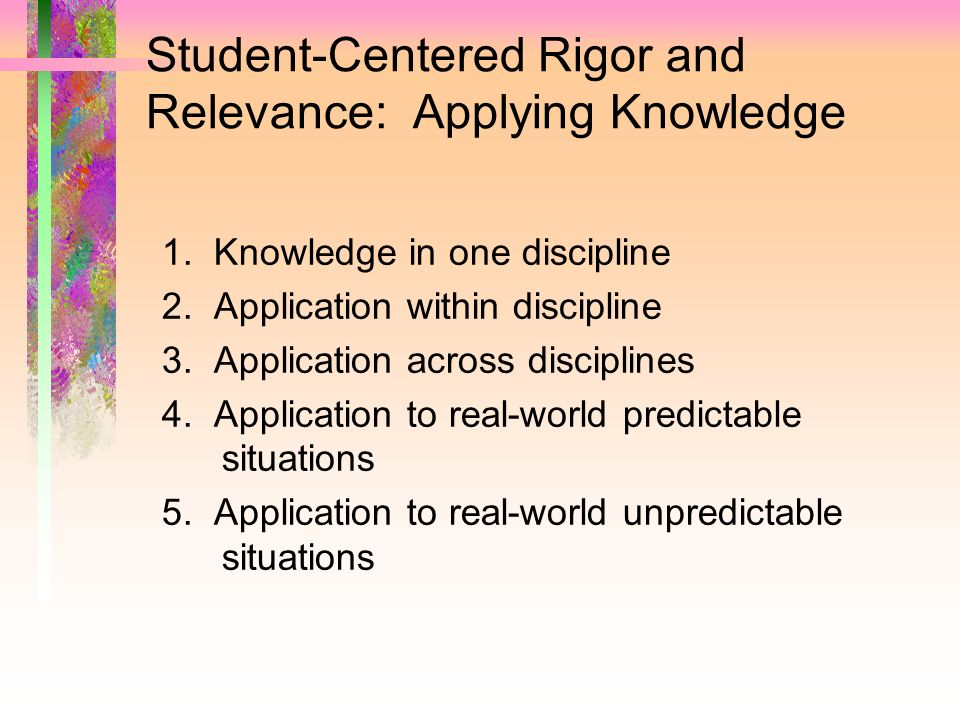 Student-Centered Rigor and Relevance: Applying Knowledge