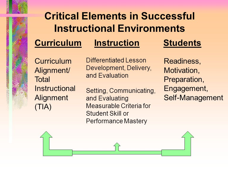 Critical Elements in Successful Instructional Environments