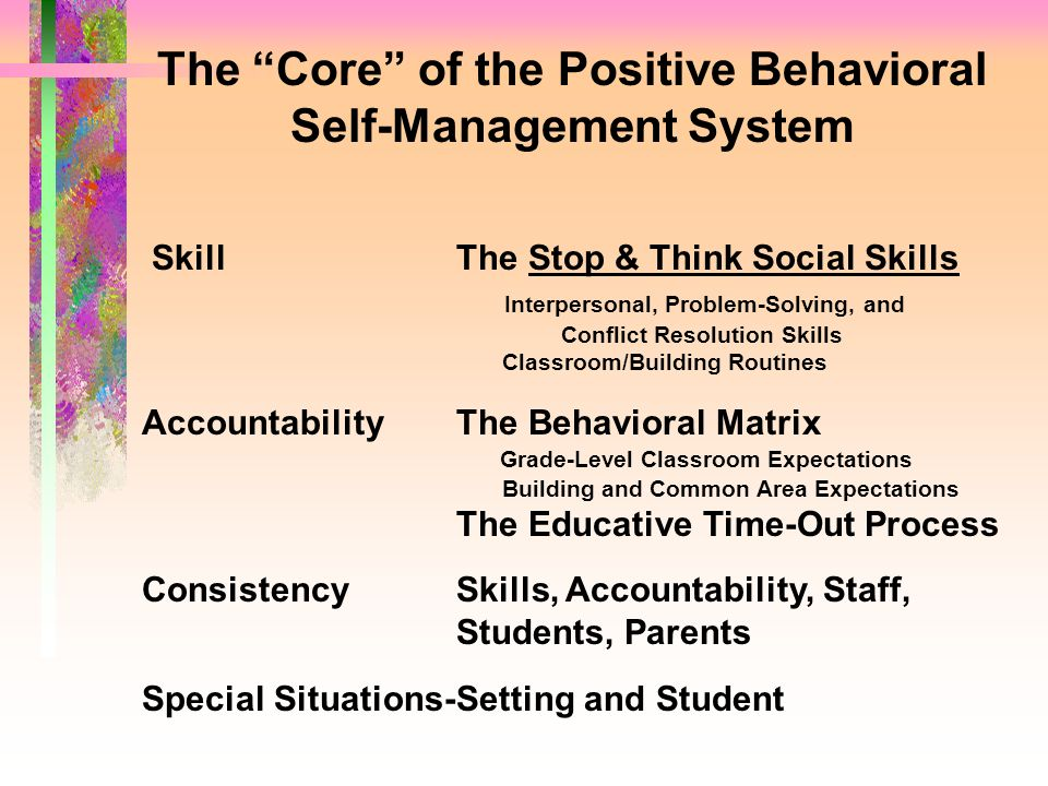 The Core of the Positive Behavioral Self-Management System