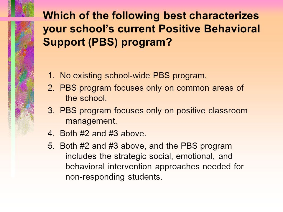 Which of the following best characterizes your school's current Positive Behavioral Support (PBS) program
