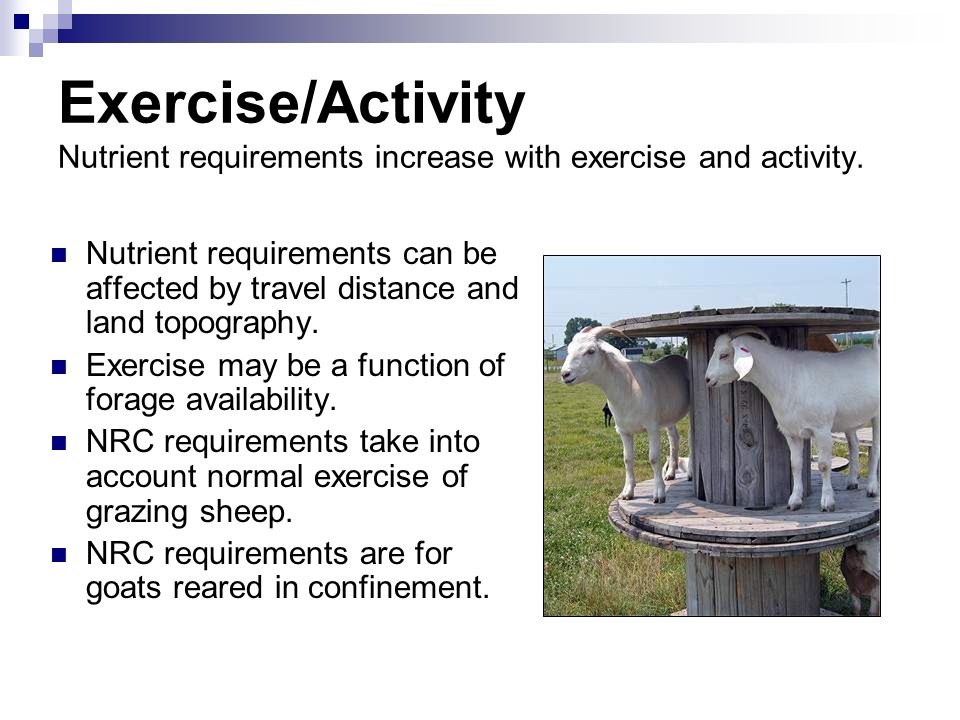 Exercise/Activity Nutrient requirements increase with exercise and activity.