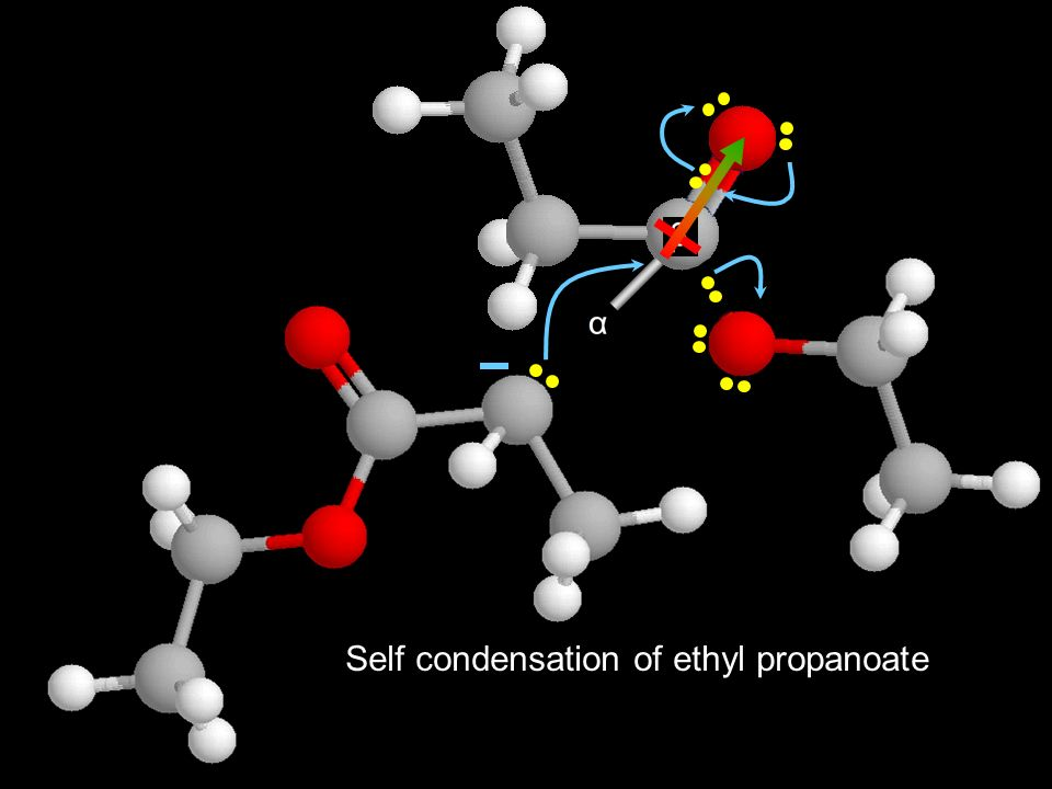 Self condensation of ethyl propanoate
