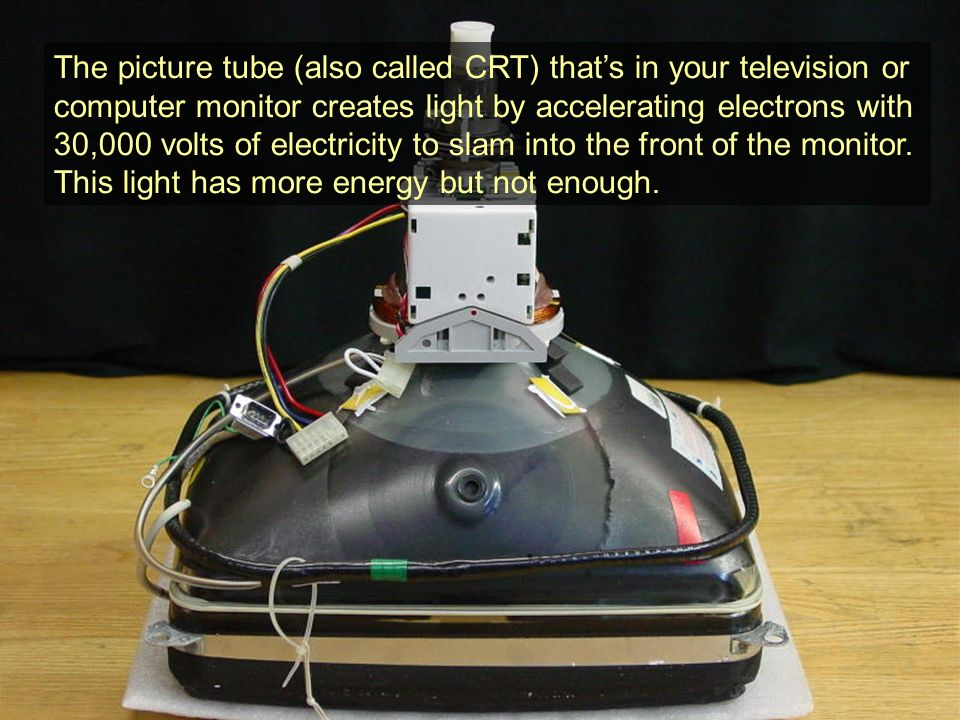 The picture tube (also called CRT) that's in your television or computer monitor creates light by accelerating electrons with 30,000 volts of electricity to slam into the front of the monitor.