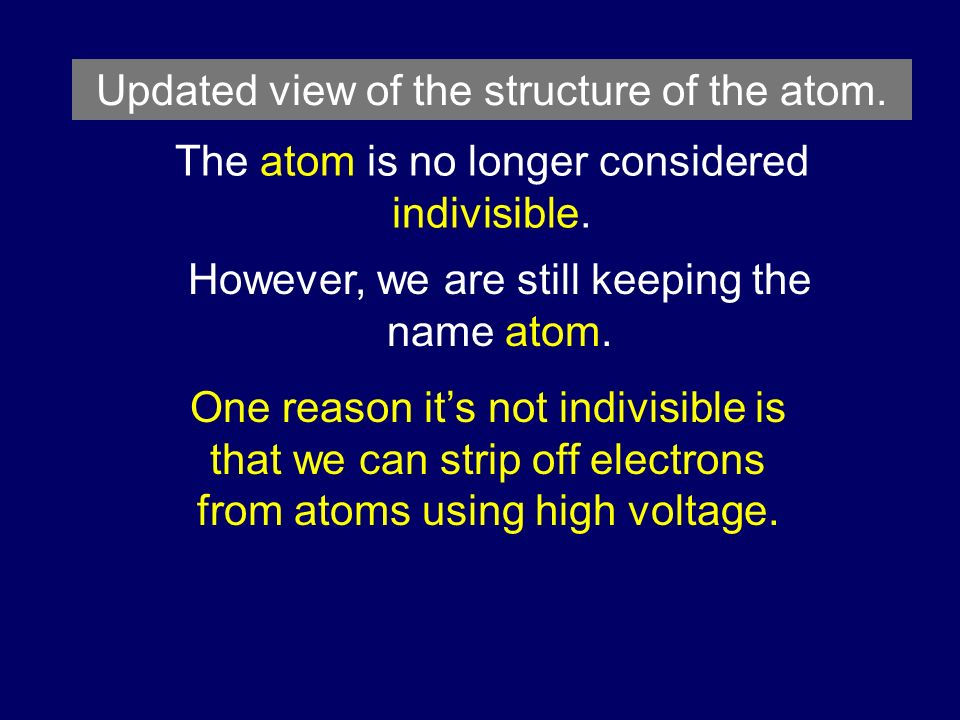 Updated view of the structure of the atom.