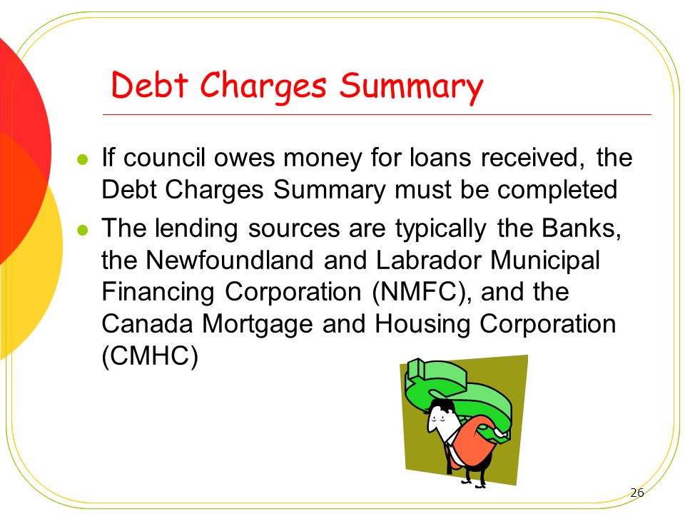Debt Charges Summary If council owes money for loans received, the Debt Charges Summary must be completed.