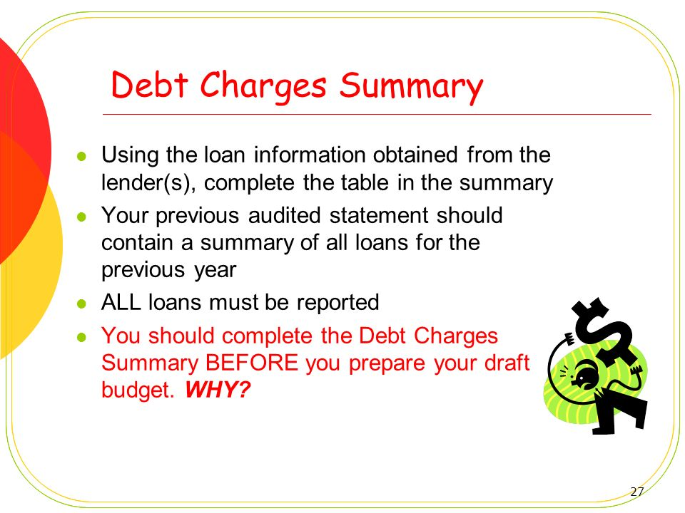 Debt Charges Summary Using the loan information obtained from the lender(s), complete the table in the summary.
