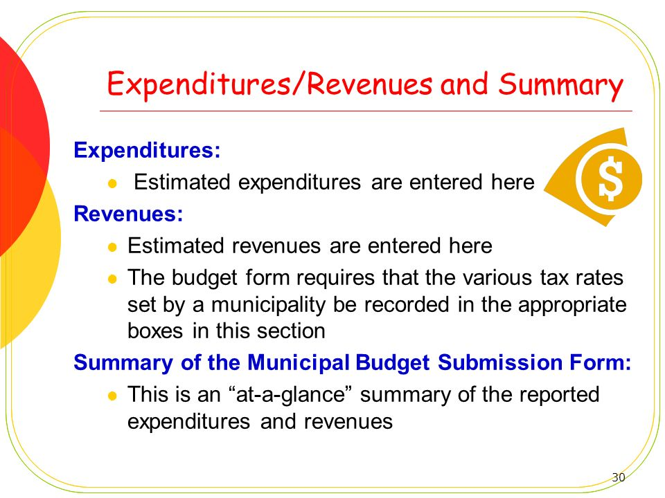 Expenditures/Revenues and Summary