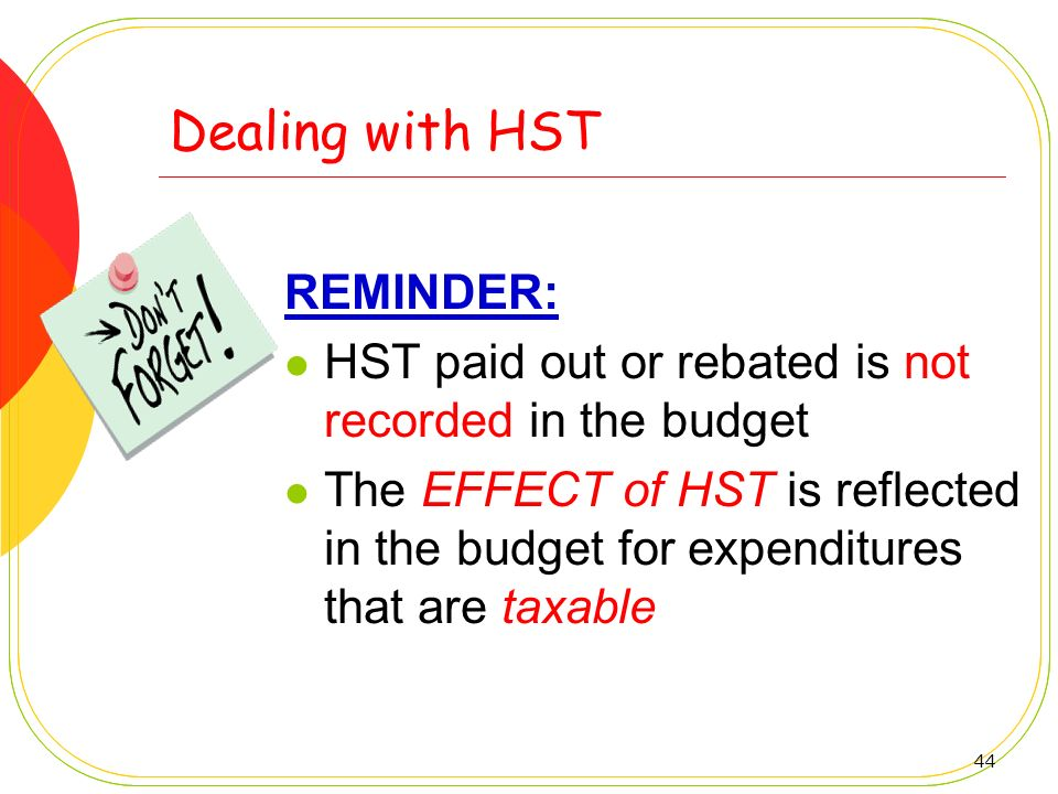 Dealing with HST REMINDER: