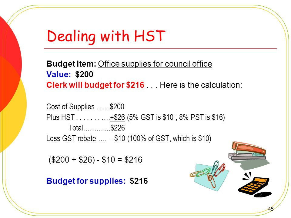 Dealing with HST Budget Item: Office supplies for council office
