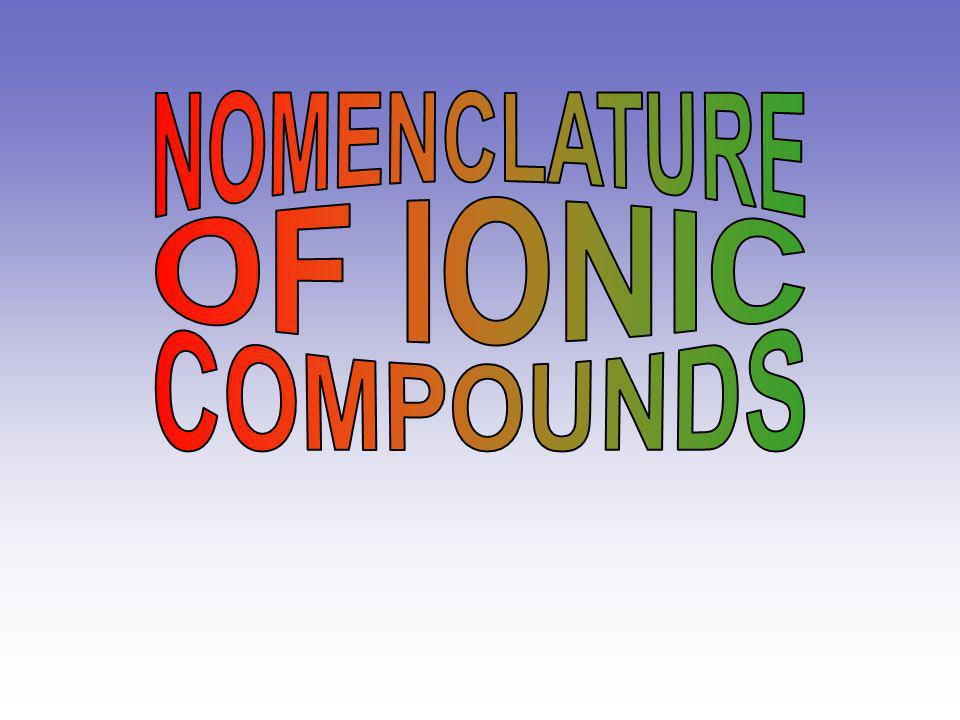NOMENCLATURE OF IONIC COMPOUNDS