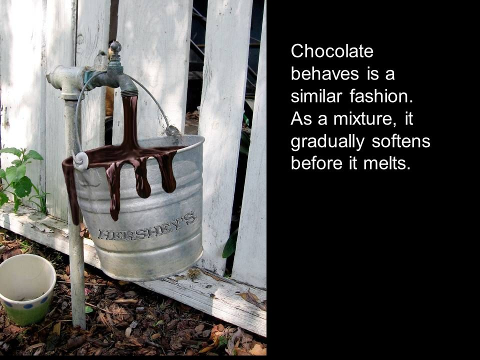 Chocolate behaves is a similar fashion