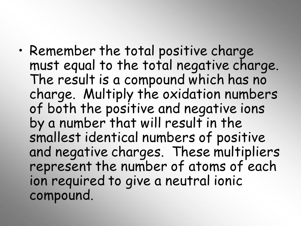 Remember the total positive charge must equal to the total negative charge.